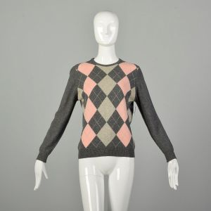 Small 2000s Berk Sweater Grey Argyle Cashmere Ribbed Knit