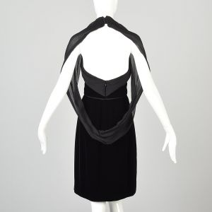 XXS Yves Saint Laurent Black Velvet Halter Dress Backless Mini - Fashionconstellate.com
