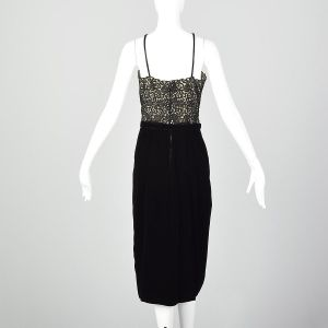 Small 1940s Illusion Bodice Evening Dress Velvet Cocktail Pin-Up Style - Fashionconstellate.com