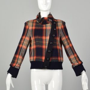 Small LAMB Gwen Stefani Asymmetric Multi-Color Plaid Jacket Autumn Outerwear