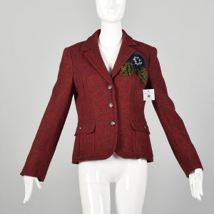 Medium Moschino Cheap & Chic Red Blazer Wool Tweed Yarn Flower Corsage Applique Jacket