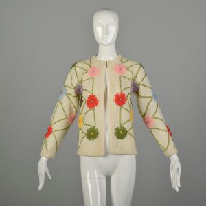 Small 1960s Embroidered Cardigan Sweater Off-White Knit Colorful Flowers