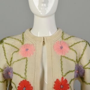 Small 1960s Embroidered Cardigan Sweater Off-White Knit Colorful Flowers  - Fashionconstellate.com