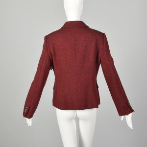 Medium Moschino Cheap & Chic Red Blazer Wool Tweed Yarn Flower Corsage Applique Jacket - Fashionconstellate.com