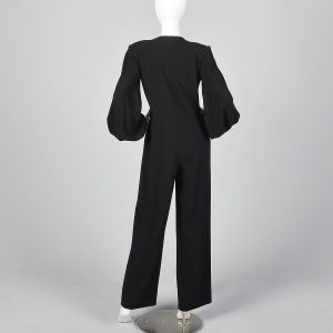 Small Pauline Trigere 1970s Wool Crepe Jumpsuit Zip Front Bishop Sleeves - Fashionconstellate.com