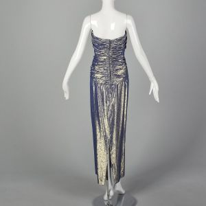 XS 1970s Gown Blue & Gold Lamé Strapless Sweetheart Formal Evening Maxi Prom Dress - Fashionconstellate.com