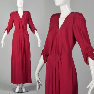 Small 1940s Raspberry Pink Rayon Evening Gown Elbow Sleeves Slit Hem