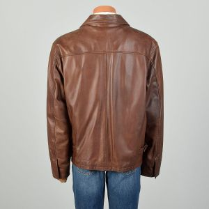XL 2000s Wilsons M. Julian Jacket Brown Leather Belted Winter Coat - Fashionconstellate.com