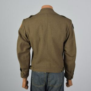 Medium 1944 Mens Military Ike Jacket with Pins Patches Wool Eisenhower Green Pockets 1940s WWII - Fashionconstellate.com