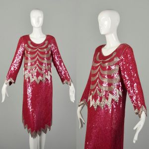 Small 1990s Silk Sequin Evening Chemise Beaded Pink Silver Red Loose Fitting Cocktail Dress