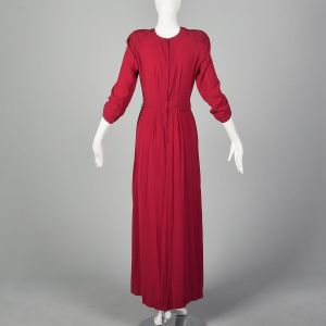 Small 1940s Raspberry Pink Rayon Evening Gown Elbow Sleeves Slit Hem - Fashionconstellate.com
