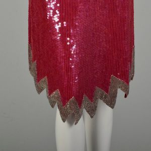 Small 1990s Silk Sequin Evening Chemise Beaded Pink Silver Red Loose Fitting Cocktail Dress - Fashionconstellate.com