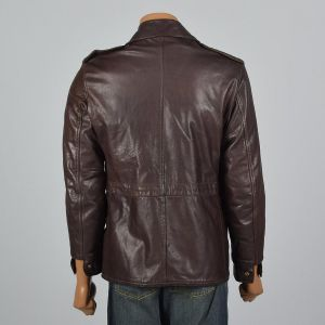 Medium 38 1960s Mens Brown Leather Jacket Wide Collar Patch Pockets Front Zip - Fashionconstellate.com
