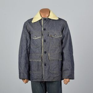 XL 1970s Mens Denim Chore Coat Faux Shearling Lining Patch Pockets Square Cut Jean Jacket