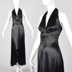 XXS 1930s Halter Dress Black Liquid Satin Evening Gown Old Hollywood Glamour