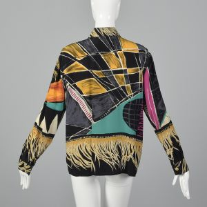 XL 1990s Louis Féraud Silky Black Geometric Blouse Gold Long Sleeves - Fashionconstellate.com