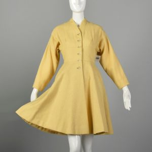 Small 1950s Princess Coat Yellow Wool Spring Jacket Rockabilly Pin Up Outerwear  - Fashionconstellate.com