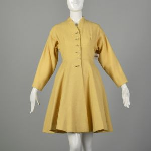 Small 1950s Princess Coat Yellow Wool Spring Jacket Rockabilly Pin Up Outerwear