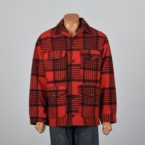 XL 1960s Mens Pendleton Jacket Red Black Plaid Button Front Heavy Wool Hunting Shirt Coat