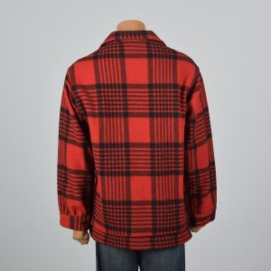 XL 1960s Mens Pendleton Jacket Red Black Plaid Button Front Heavy Wool Hunting Shirt Coat - Fashionconstellate.com