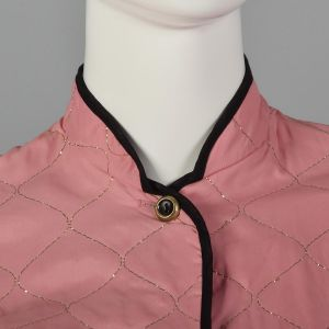 XXS 1950s Quilted Pajama Set Long Sleeve Patch Pockets Pink Pants Gold Topstitch Black Trim  - Fashionconstellate.com