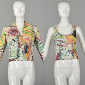 Small Alberto Makali Multi-Color Stretch Top and Matching Jean Jacket Set