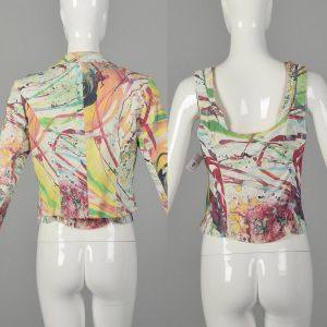 Small Alberto Makali Multi-Color Stretch Top and Matching Jean Jacket Set - Fashionconstellate.com