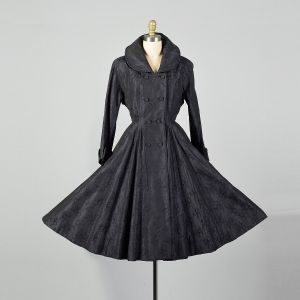 XS 1950s Couture Princess Coat Navy Blue Silk Brocade Made in Italy Double Breasted Spring Fall