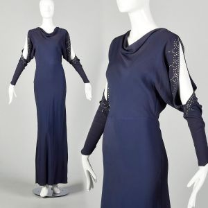 Small 1930s Blue Dress Rhinestone Slit Bias Cut Long Sleeve Evening Gown