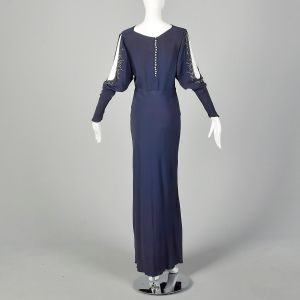 Small 1930s Blue Dress Rhinestone Slit Bias Cut Long Sleeve Evening Gown  - Fashionconstellate.com