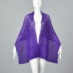 OSFM 1970s Purple Crochet Wrap Loose Open Weave Shawl