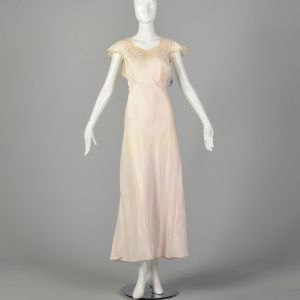 Small 1940s Deadstock Pink Rayon Nightgown Vintage Lingerie