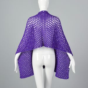 OSFM 1970s Purple Crochet Wrap Loose Open Weave Shawl - Fashionconstellate.com