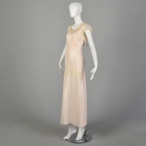 Small 1940s Deadstock Pink Rayon Nightgown Vintage Lingerie - Fashionconstellate.com