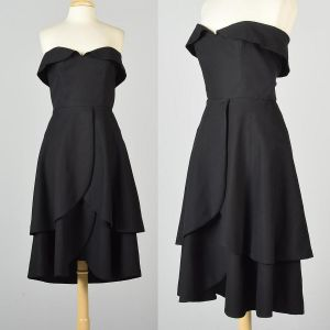 Small 1950s Pauline Trigere Dress Strapless LBD Petal Skirt Cocktail Party Formal