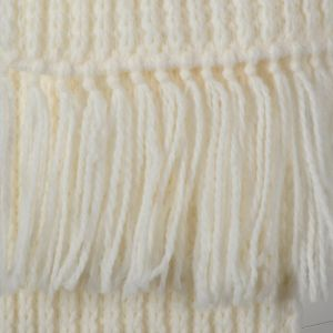 Ivory White Scarf 1980s Winter Thick Ribbed Knit with Fringe - Fashionconstellate.com