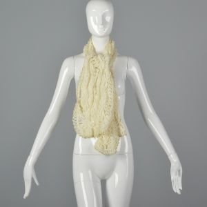 1970s Cream Scarf Open Weave Crochet with Metallic Gold Thread Trim - Fashionconstellate.com