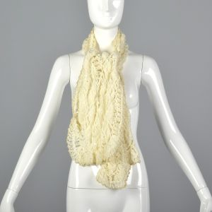 1970s Cream Scarf Open Weave Crochet with Metallic Gold Thread Trim