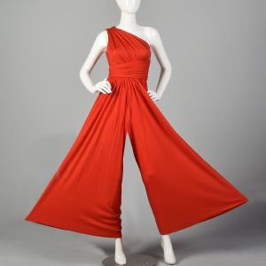 XS 1970s Red Palazzo Pant Jumpsuit One Shoulder  - Fashionconstellate.com