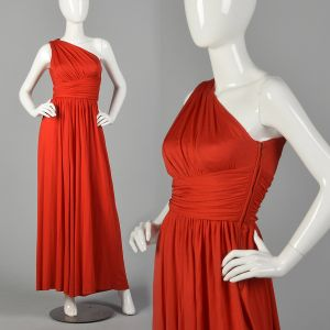 XS 1970s Red Palazzo Pant Jumpsuit One Shoulder