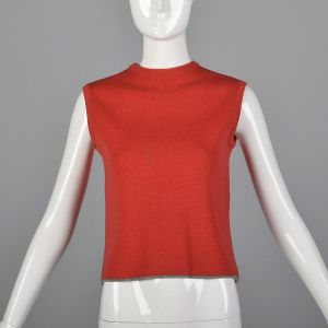 Small 1960s Red Tank Top Cropped Knit Sleeveless Mod Mock Neck Gray Trim Rockabilly Blouse