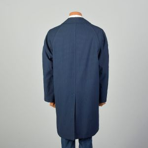 Large 1960s Raincoat Blue Black Houndstooth Overcoat Removable Lining - Fashionconstellate.com