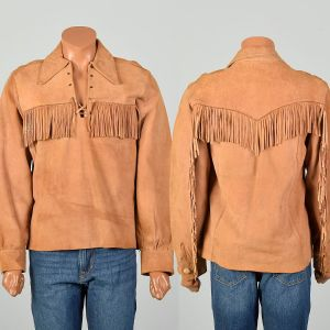 Medium 1960s Shirt Fringed Suede Leather Daniel Boone Outdoorsman Pullover