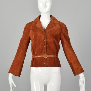 Small 1970s Ann Klein Boho Rust Split Hide Suede Jacket with Snap Front