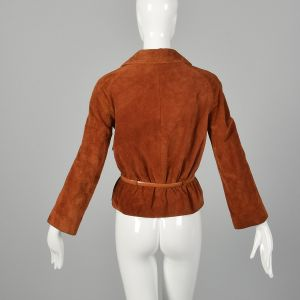 Small 1970s Ann Klein Boho Rust Split Hide Suede Jacket with Snap Front  - Fashionconstellate.com