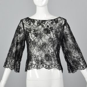 Small 1960s Top Black Floral Sheer Lace Blouse 3/4 Long Bell Sleeve Boat Neck Shirt
