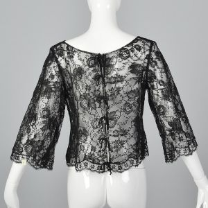 Small 1960s Top Black Floral Sheer Lace Blouse 3/4 Long Bell Sleeve Boat Neck Shirt - Fashionconstellate.com
