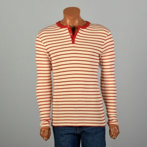 Small 1960s Ribbed Knit Henley Snap Front Stretch Horizontal Stripe