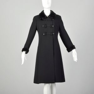 XS 1960s Mod Winter Coat Black Wool with Frog Closures and Faux Fur Trim