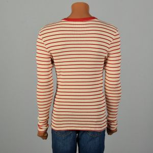 Small 1960s Ribbed Knit Henley Snap Front Stretch Horizontal Stripe - Fashionconstellate.com